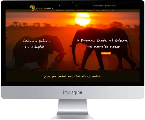 Website / Reiseportal für All Around Africa - Immagine Webagentur München