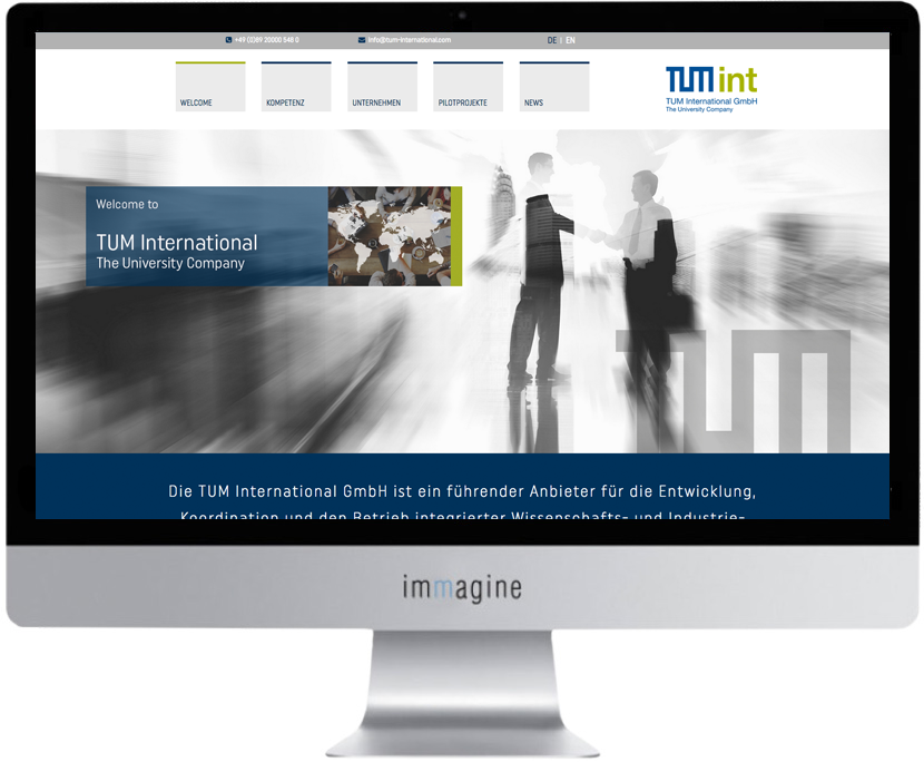 Website für TUM International - Immagine Webagentur München